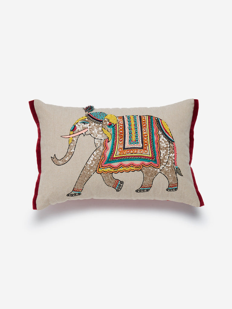 Westside Home Beige Elephant Print Cushion Cover