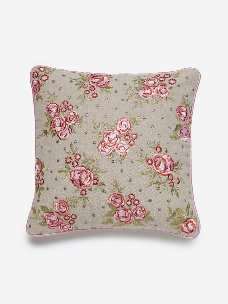 Westside Home Beige Floral Embroidery Small Cushion Cover