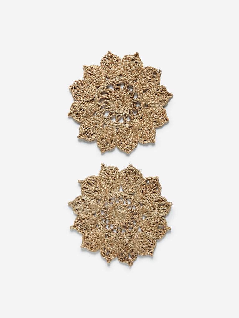 Westside Home Light Brown Floral Woven Trivets Set of Two