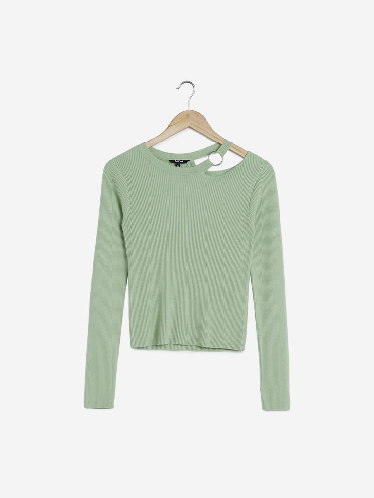 Nuon Sage Green Ribbed Coleburn Top