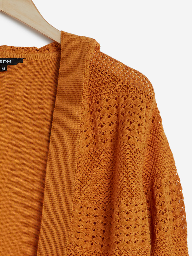 Nuon Dark Orange Knitted Shrug With A Hood