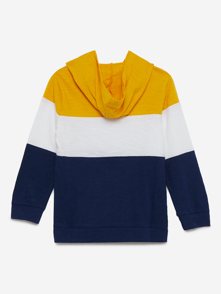 HOP Kids Mustard Colour-Block Hooded Sweatshirt