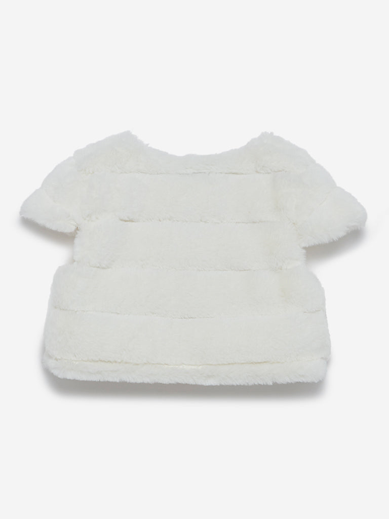 HOP Kids Off-White Faux Fur Striped Shrug