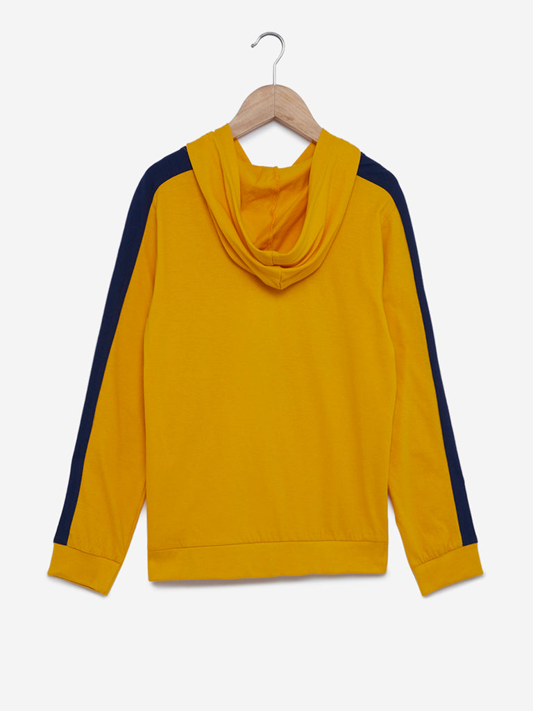 Y&F Kids Mustard Text Printed Hooded Sweatshirt