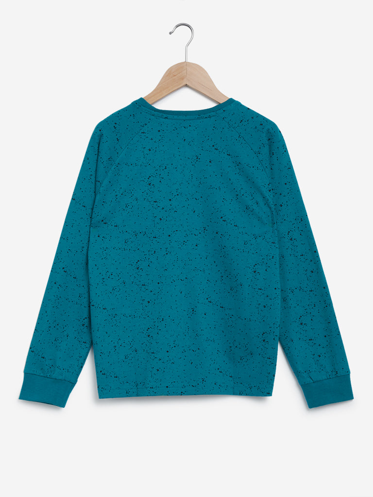 Y&F Kids Teal Reversible Sequinned Sweatshirt