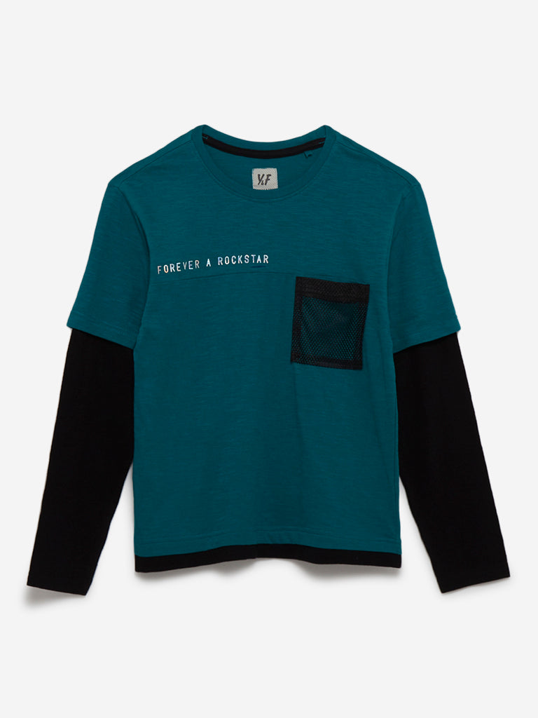 Y&F Kids Teal Text Printed Crewneck T-Shirt