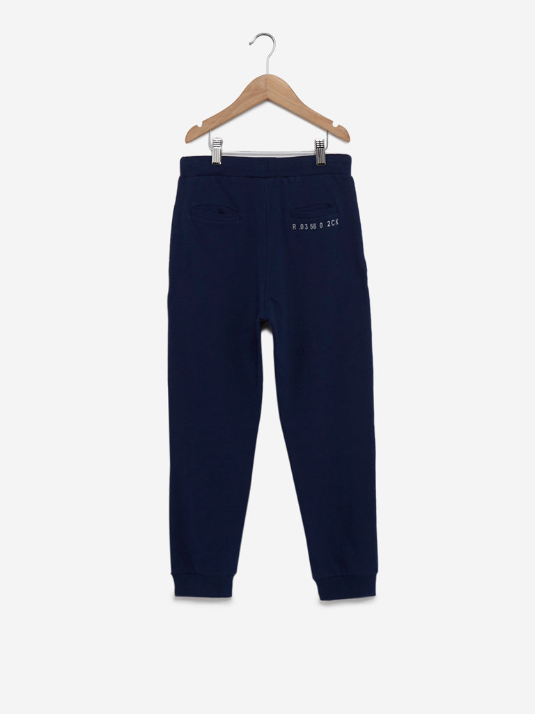 Y&F Kids Navy Text Pattern Joggers