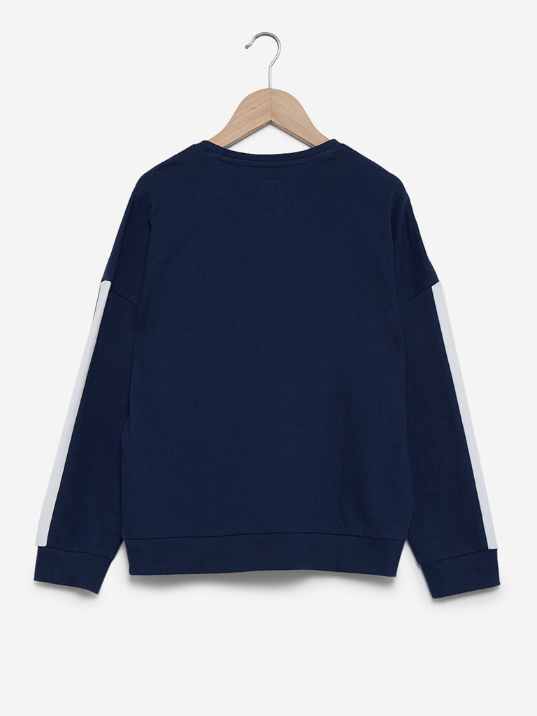 Y&F Kids Indigo Text Print Sweatshirt