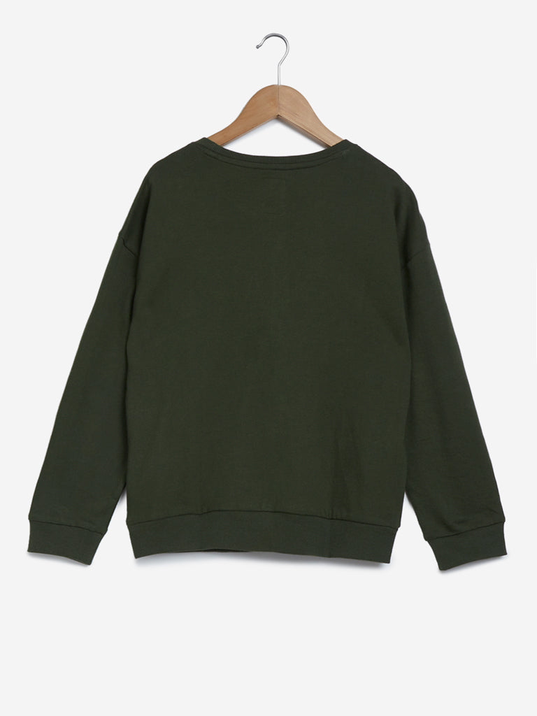 Y&F Kids Olive Text Print Sweatshirt