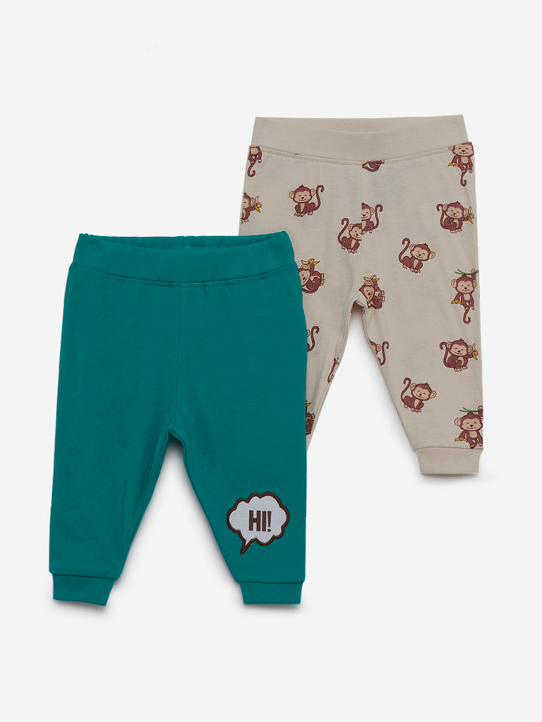 Baby HOP Teal Printed Joggers Set of Two