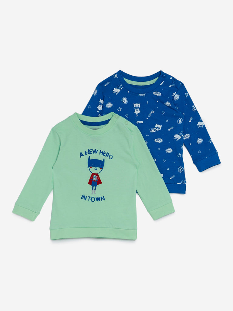Baby HOP Light Green Hero Sweatshirts Set of Two