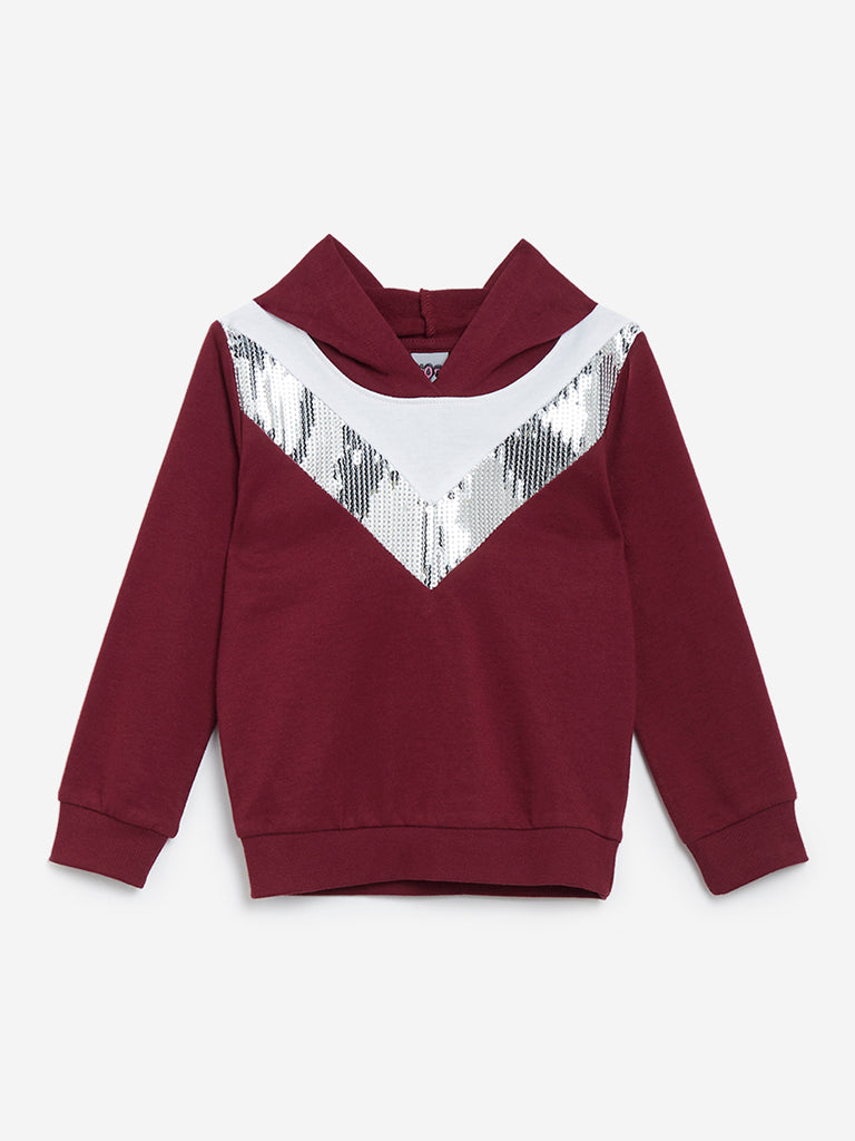 HOP Kids Burgundy Sequinned Hooded Sweatshirt