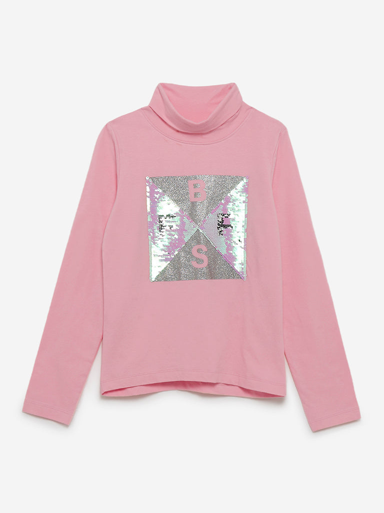 Y&F Kids Light-Pink Sequinned Turtleneck Top