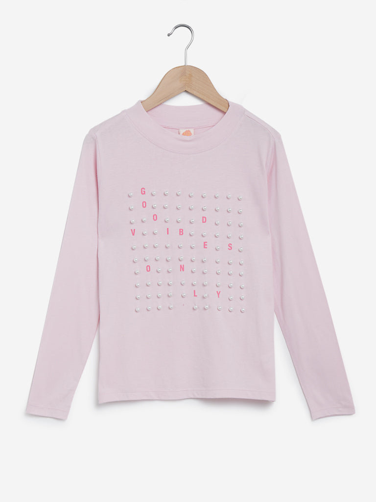 Y&F Kids Light Pink Pearl Detailed T- Shirt