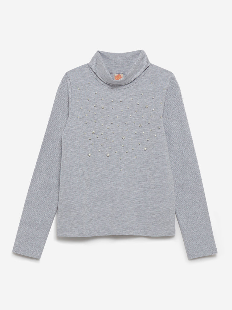 Y&F Kids Grey Faux-Pearl Detailed Turtleneck Top