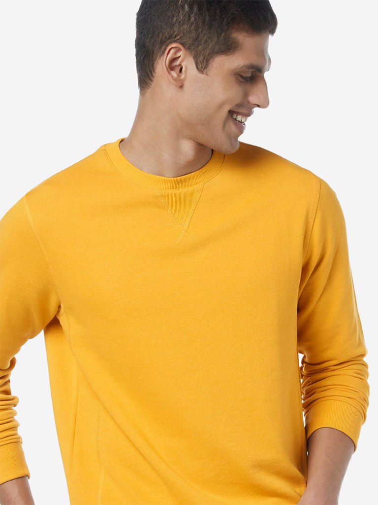 WES Casuals Mustard Crewneck Relaxed Fit T-Shirt
