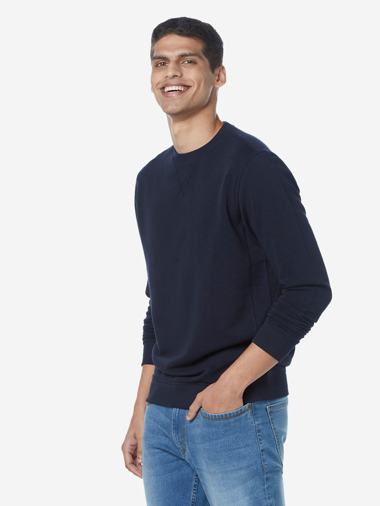 WES Casuals Navy Relaxed Fit Full-Sleeve T-Shirt
