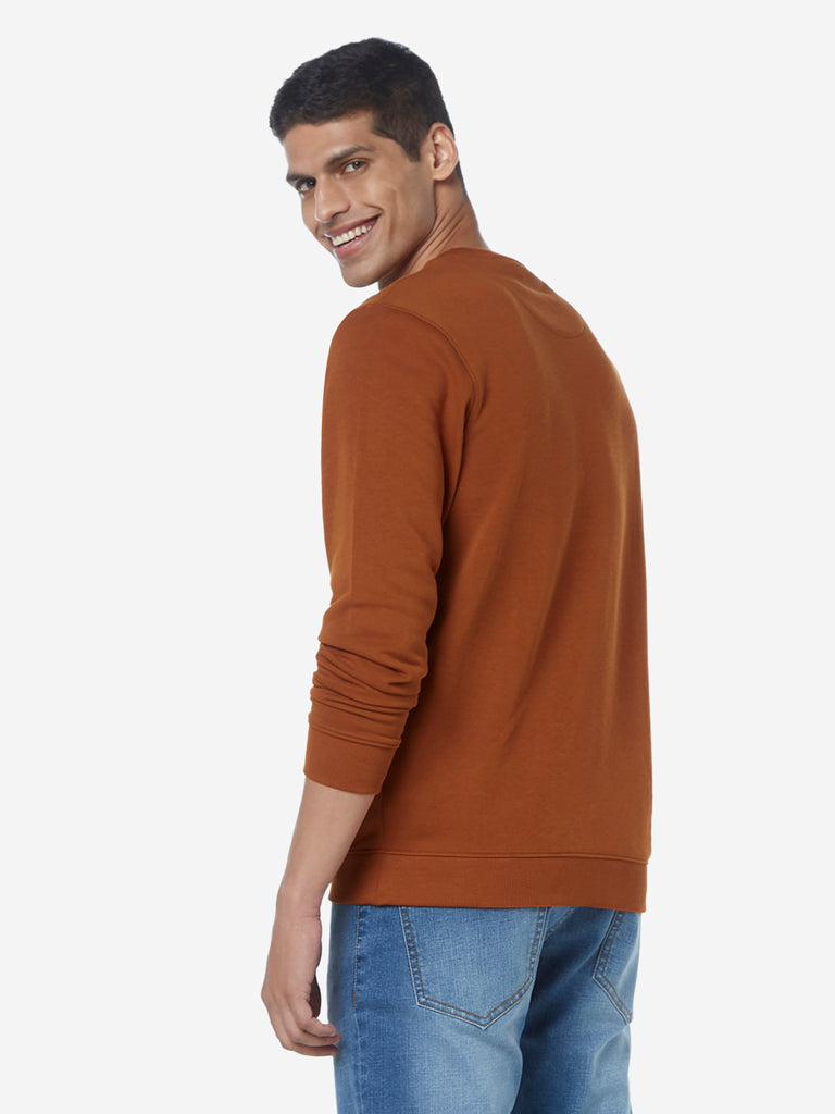 WES Casuals Rust Relaxed Fit T-Shirt