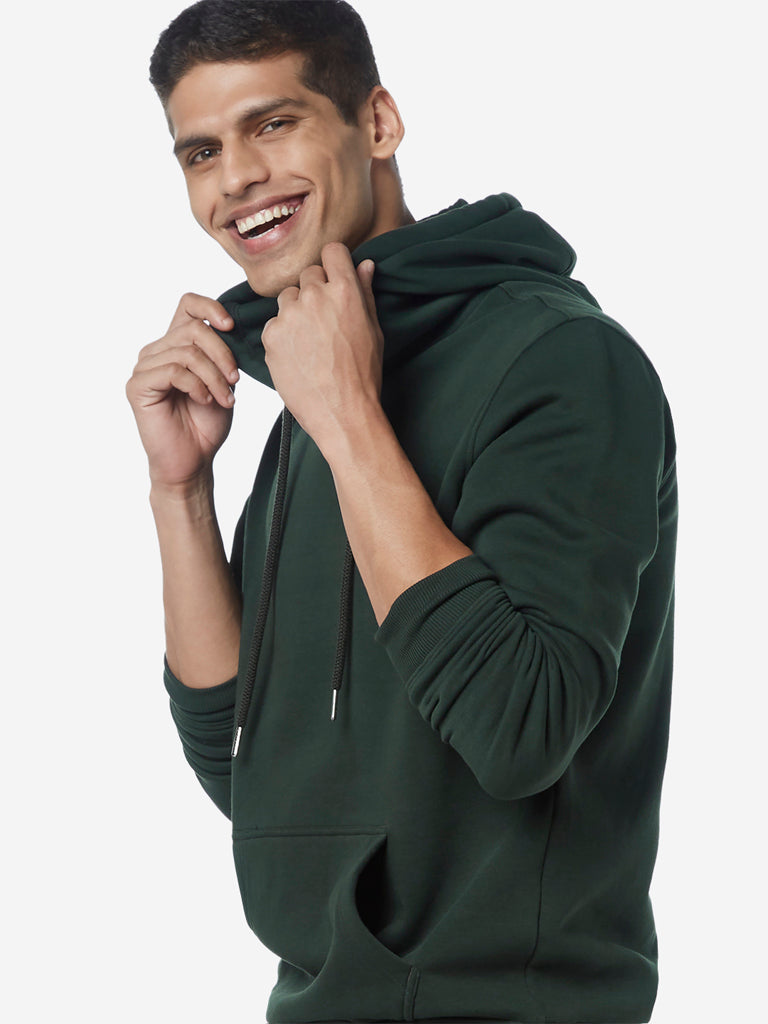 WES Casuals Green Relaxed Fit Hooded Sweatshirt