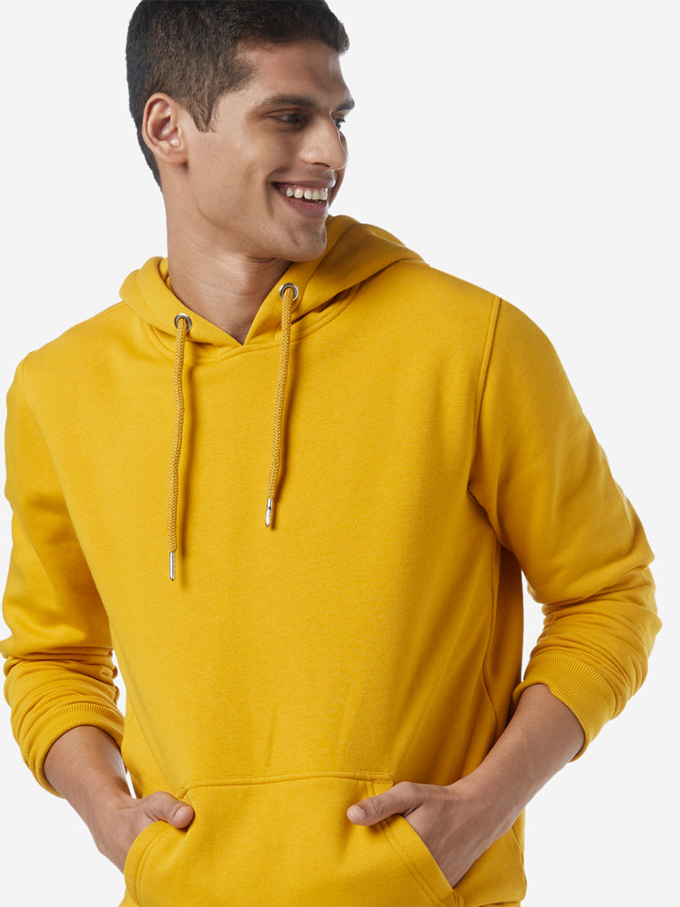 WES Casuals Mustard Relaxed Fit Hood Sweatshirt