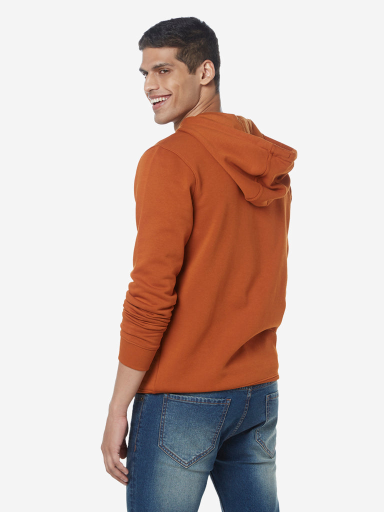 WES Casuals Rust Relaxed Fit Hood Sweatshirt