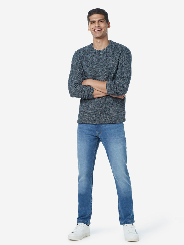 WES Casuals Navy Melange Slim Fit Sweater