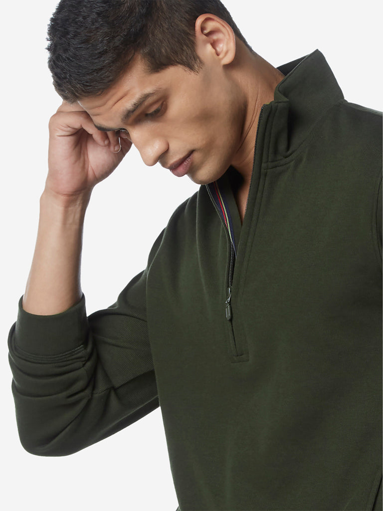 WES Casuals Olive Slim Fit High-Collar T-Shirt