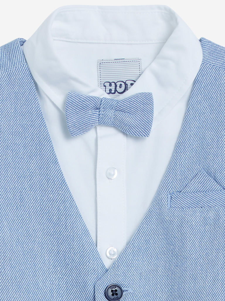 HOP Kids Blue Shirt With Waistcoat And Bow Set