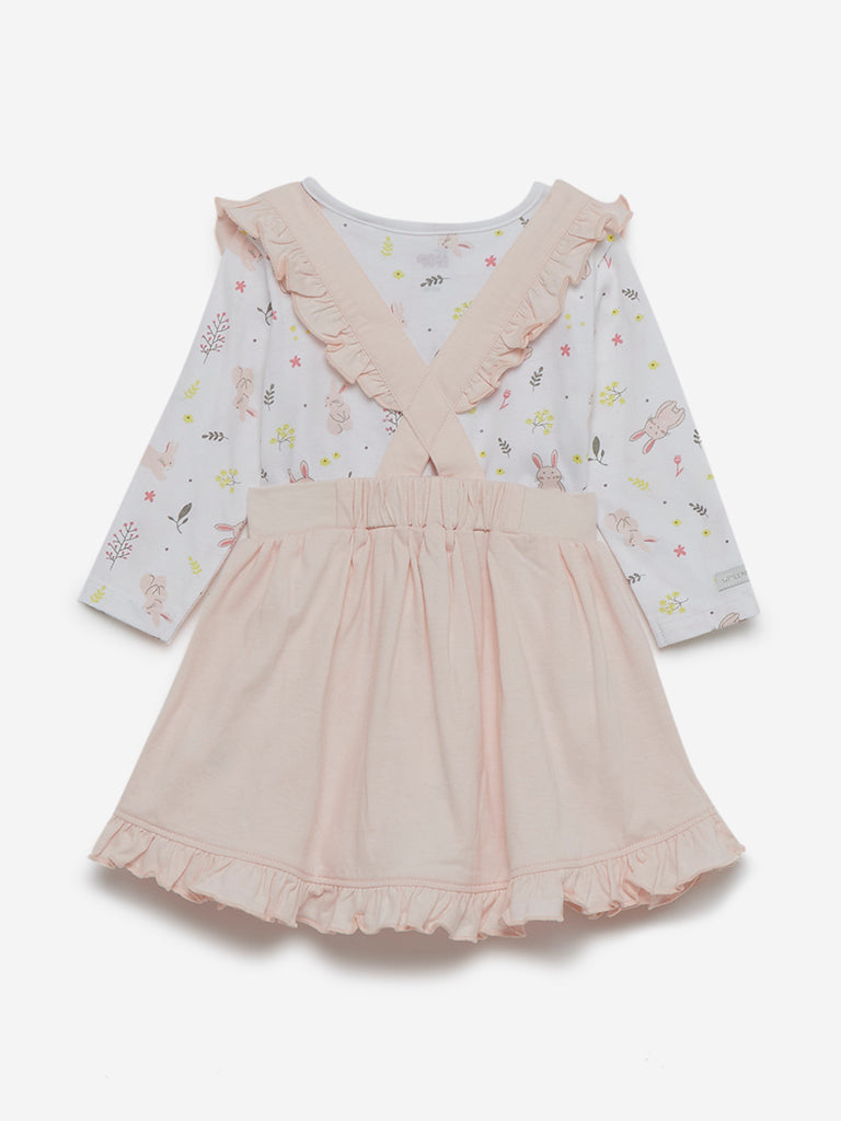 Baby HOP Beige Printed T-Shirt And Skirt Set