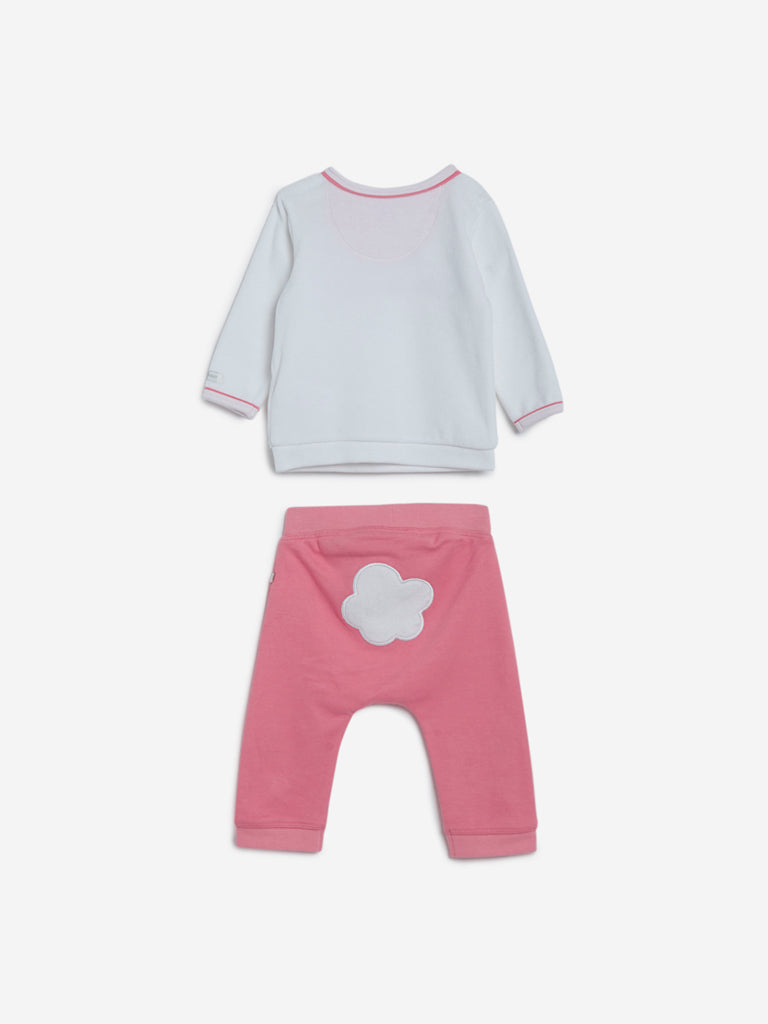 Baby HOP White Bunny T-Shirt And Pants Set