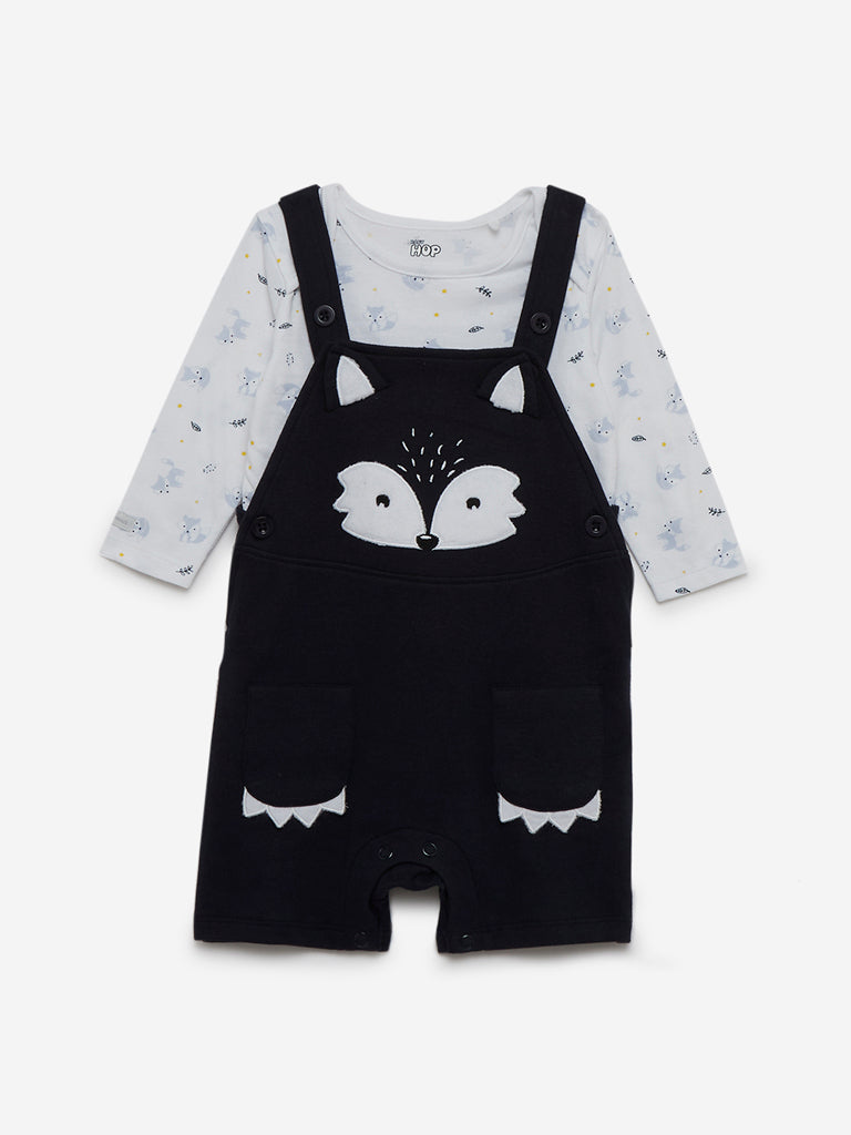 Baby HOP Navy Printed T-Shirt And Dungarees Set