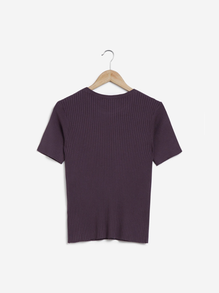Wardrobe Dark Purple Amaze Ribbed Top