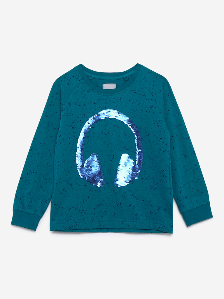 HOP Kids Teal Reversible Sequinned T-Shirt