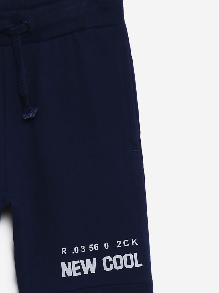 HOP Kids Navy Text Pattern Joggers
