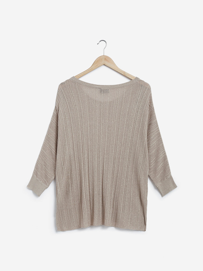 Gia Curves Beige Shimmering Knitted Top