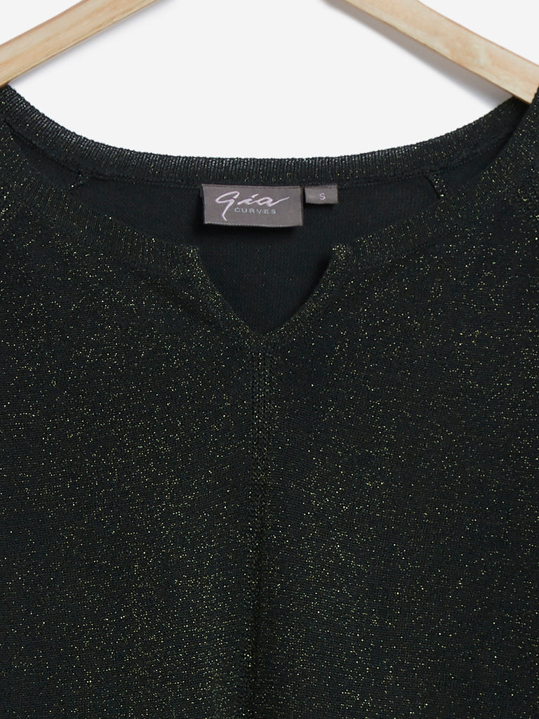 Gia Curves Dark Green Shimmer Detailed Top