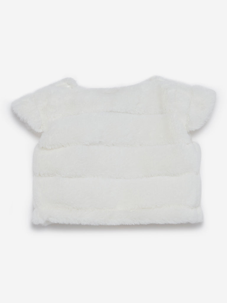 Baby HOP Off-White Faux Fur Striped Shrug