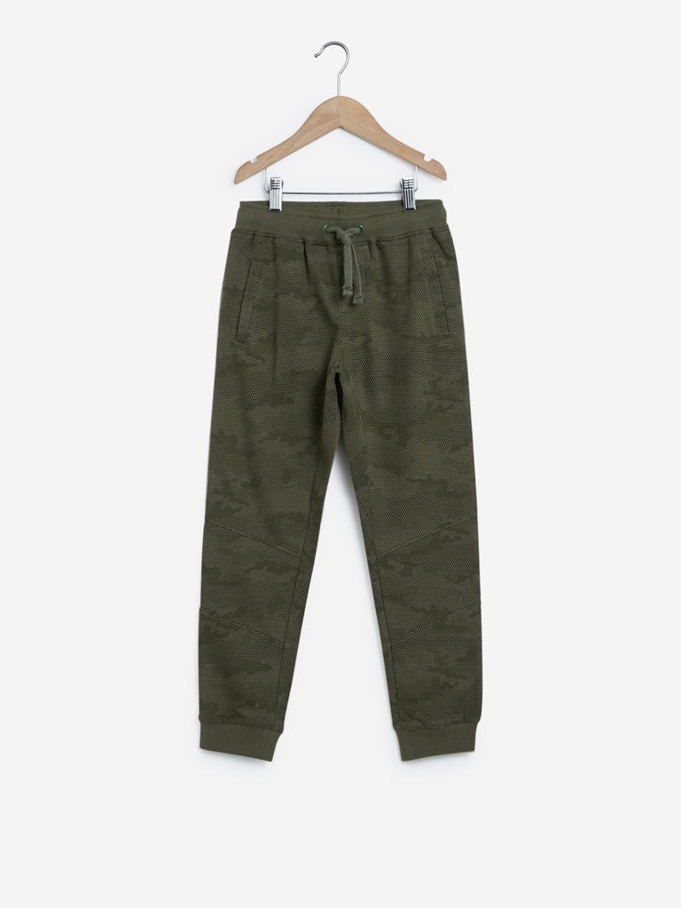 Y&F Kids Olive Camouflage Print Joggers