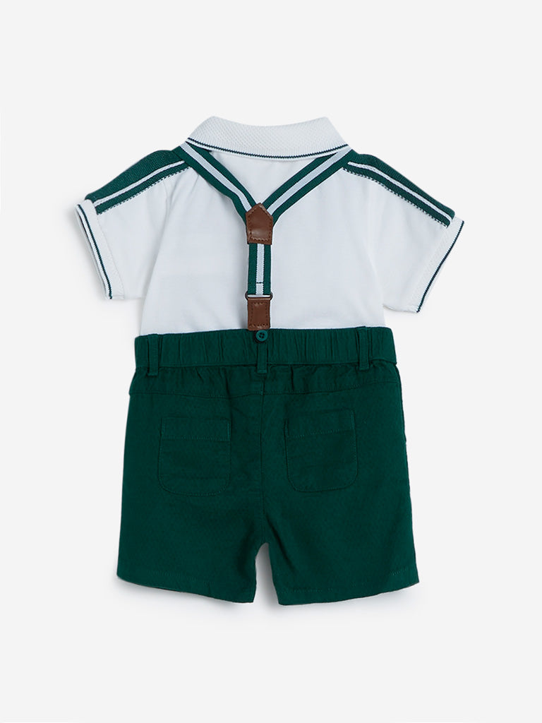Baby HOP Green Dobby T-Shirt And Shorts Set