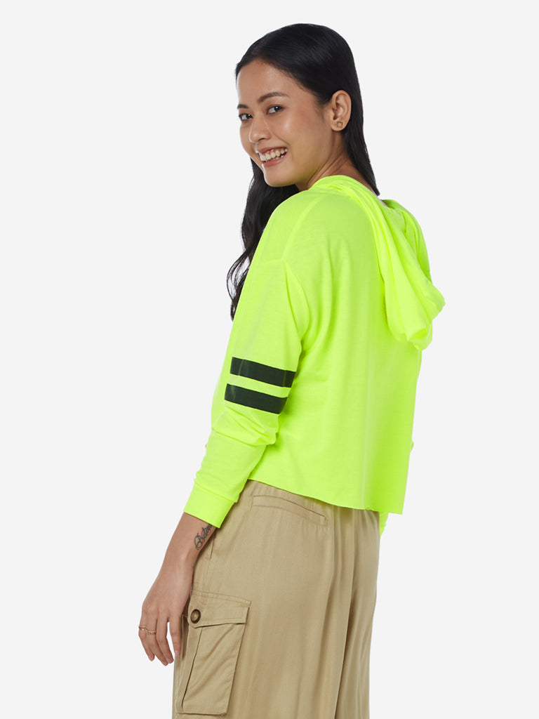 Nuon Neon Green Text Pattern Hooded Crop T-Shirt