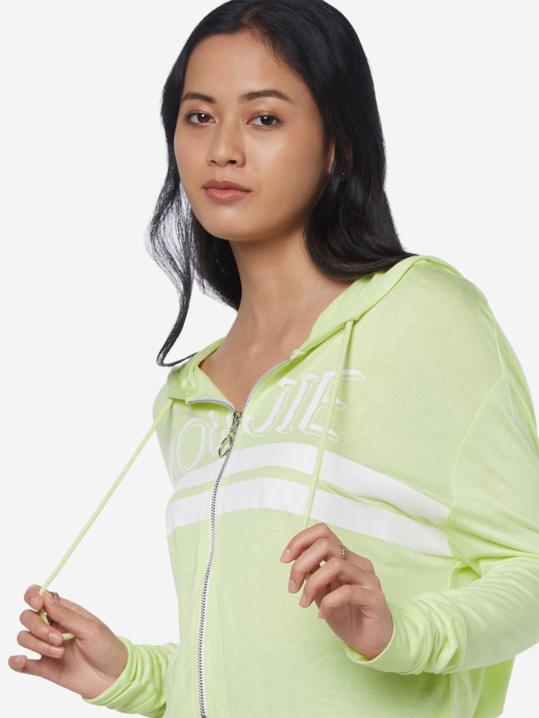 Nuon Light Green Text Print Hooded Crop T-Shirt