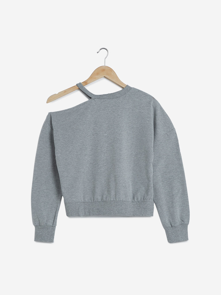 Nuon Grey Text Printed Cropped Sweatshirt