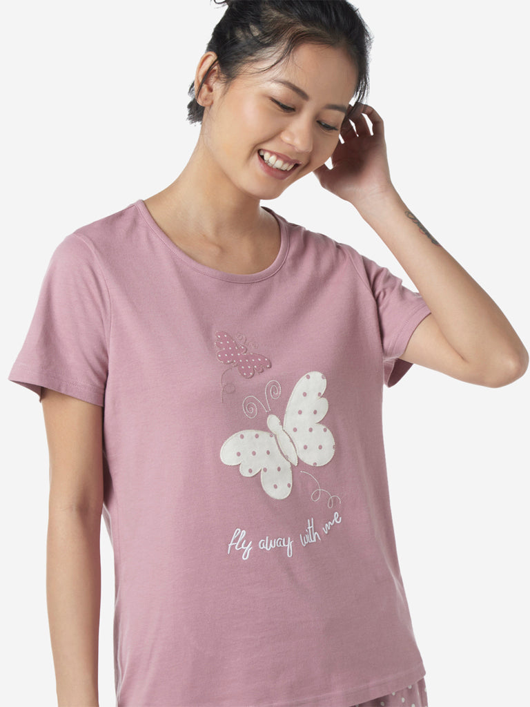Wunderlove by Westside Mauve Butterfly T-Shirt And Pyjamas