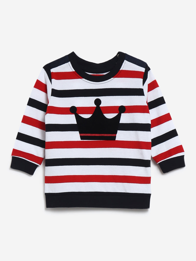 Baby HOP Multi Striped Crown Design Sweatshirt