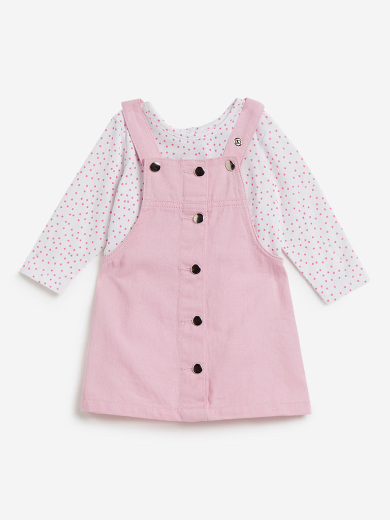 Baby HOP Light Pink T-Shirt and Pinafore Set