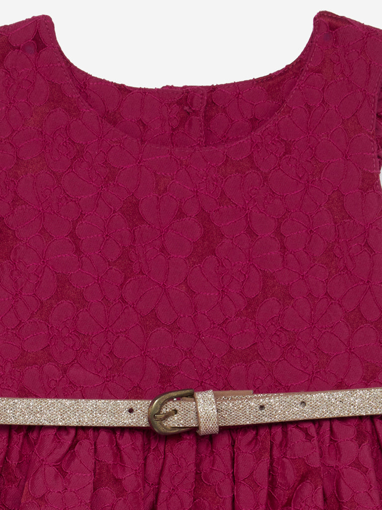 Baby HOP Raspberry Floral Dress With Belt