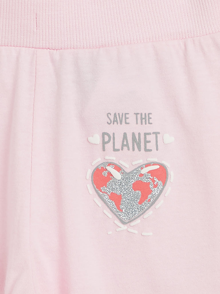 Baby HOP Pink Heart Print Joggers Set Of Two