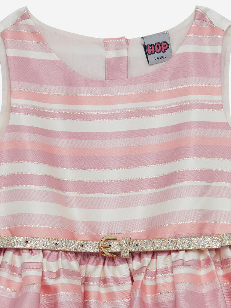 HOP Kids Pink Striped Dress With Belt