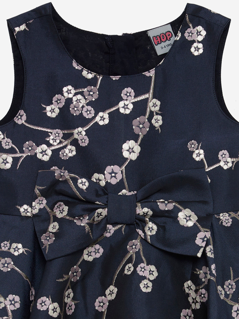 HOP Kids Navy Floral Design Andrea Dress