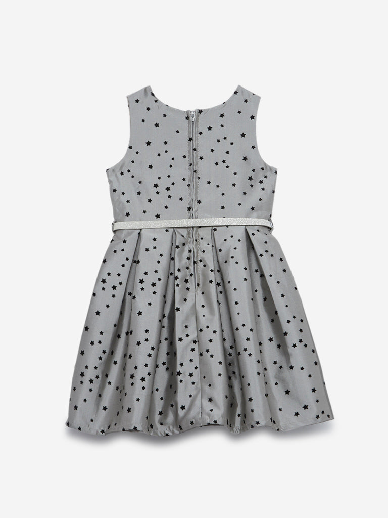 HOP Kids Grey Star Pattern Dress With Belt